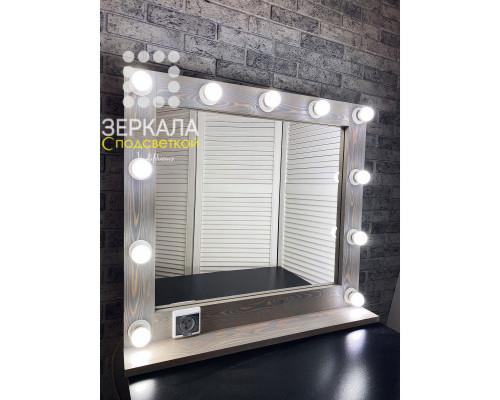 Гримерное зеркало с подсветкой и полкой 80х75