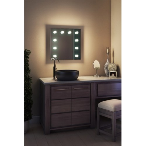 Зеркало в ванную комнату с подсветкой лампочками Ария 40 на 40 см